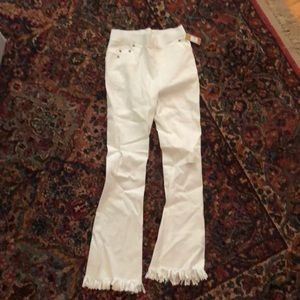 Denim - Frayed White Leggings